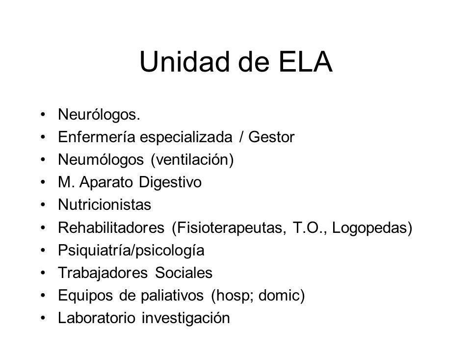 Unidad de ELA Neurólogos.Enfermería especializada / Gestor Neumólogos (ventilación) M.