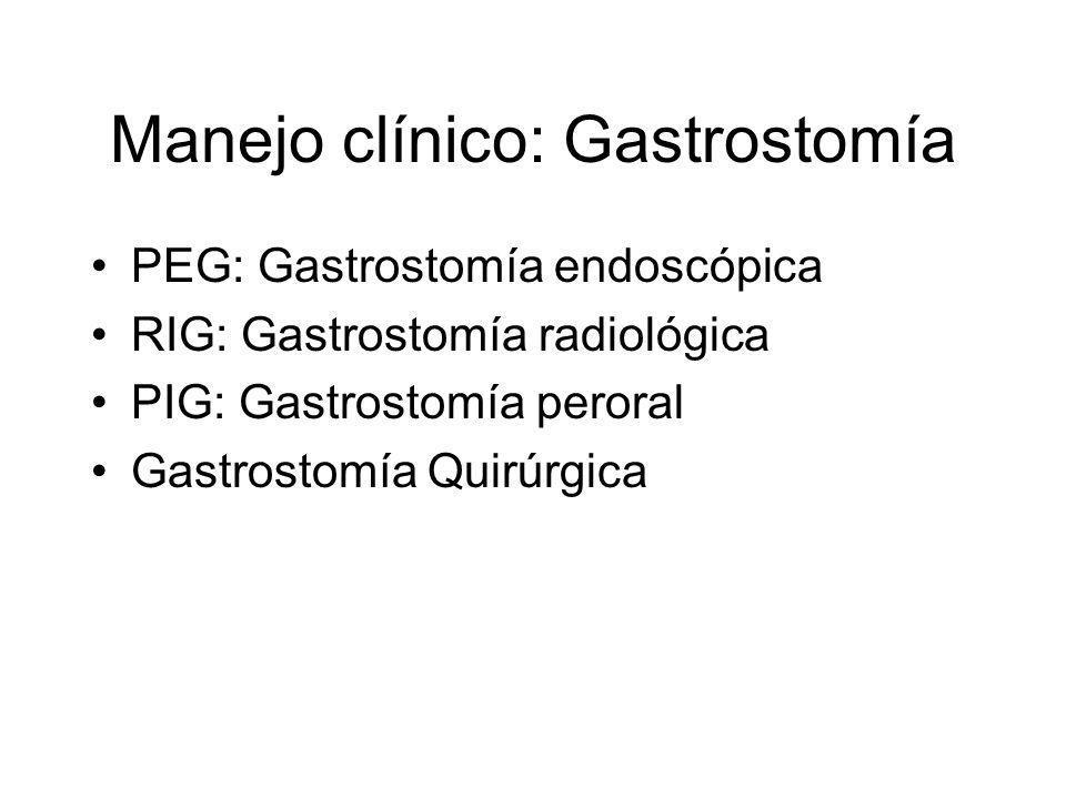 Manejo clínico: Gastrostomía PEG: Gastrostomía endoscópica RIG: Gastrostomía radiológica PIG: Gastrostomía peroral Gastrostomía Quirúrgica