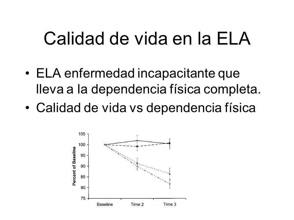 Calidad de vida en la ELA ELA enfermedad incapacitante que lleva a la dependencia física completa.