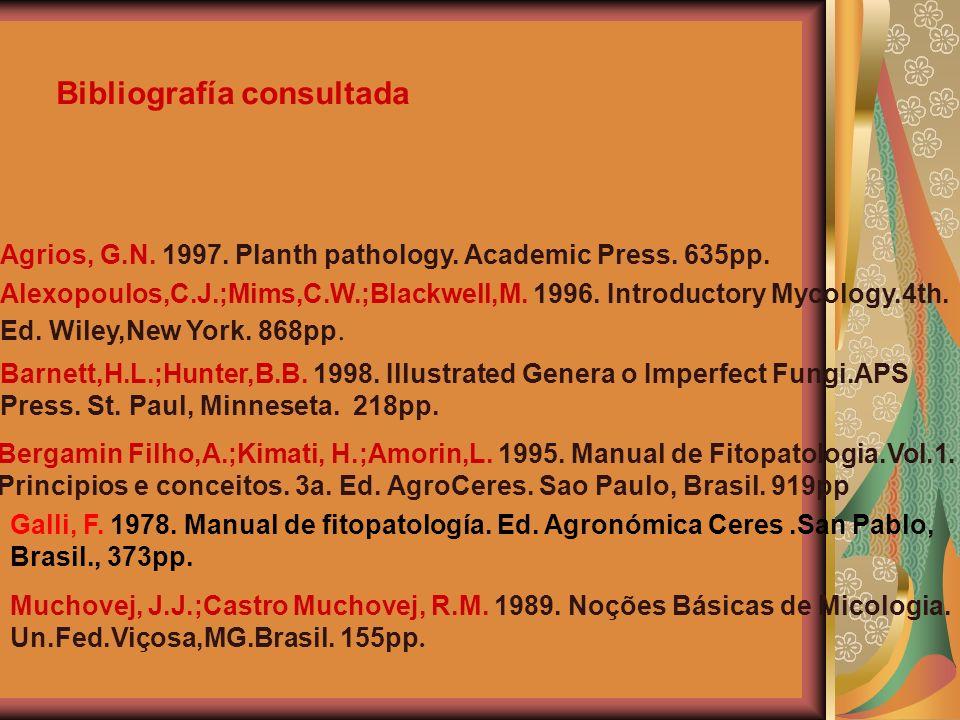 Bibliografía consultada Agrios, G.N. 1997. Planth pathology. Academic Press. 635pp. Bergamin Filho,A.;Kimati, H.;Amorin,L. 1995. Manual de Fitopatolog