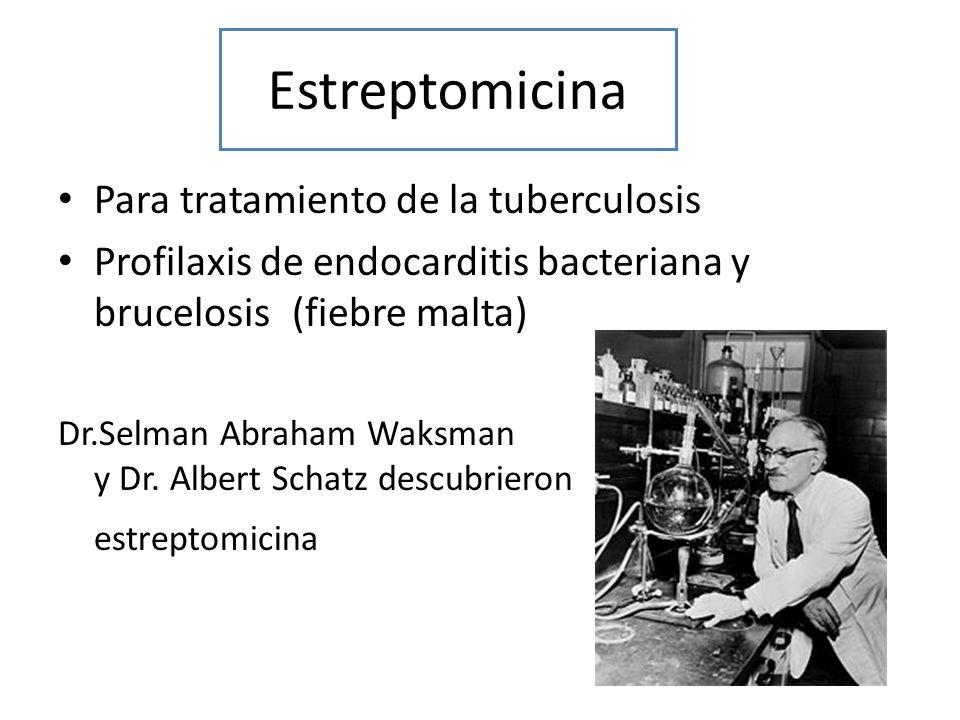 Estreptomicina Para tratamiento de la tuberculosis Profilaxis de endocarditis bacteriana y brucelosis (fiebre malta) Dr.Selman Abraham Waksman y Dr. A