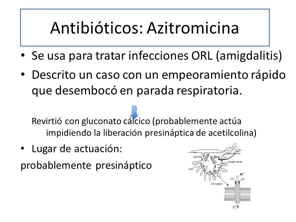 Antibióticos: Azitromicina Se usa para tratar infecciones ORL (amigdalitis) Descrito un caso con un empeoramiento rápido que desembocó en parada respi