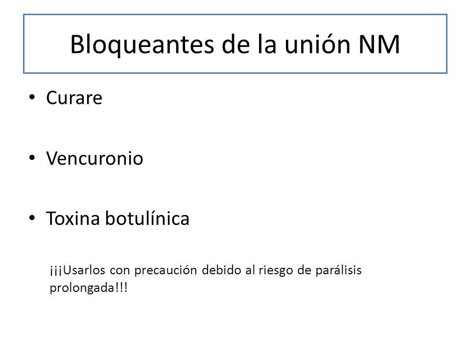 Bloqueantes de la unión NM Curare Vencuronio Toxina botulínica ¡¡¡Usarlos con precaución debido al riesgo de parálisis prolongada!!!