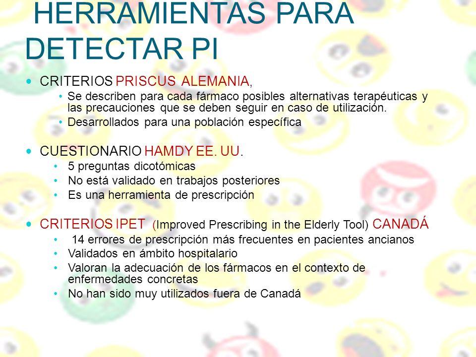 HERRAMIENTAS PARA DETECTAR PI CRITERIOS PRISCUS ALEMANIA, Se describen para cada fármaco posibles alternativas terapéuticas y las precauciones que se