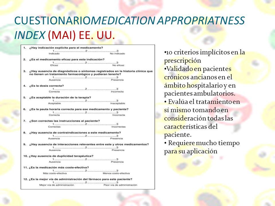 CUESTIONARIOMEDICATION APPROPRIATNESS INDEX (MAI) EE. UU. 10 criterios implícitos en la prescripción Validado en pacientes crónicos ancianos en el ámb
