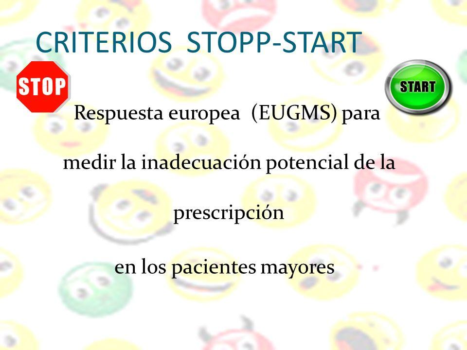 CRITERIOS STOPP-START Respuesta europea (EUGMS) para medir la inadecuación potencial de la prescripción en los pacientes mayores
