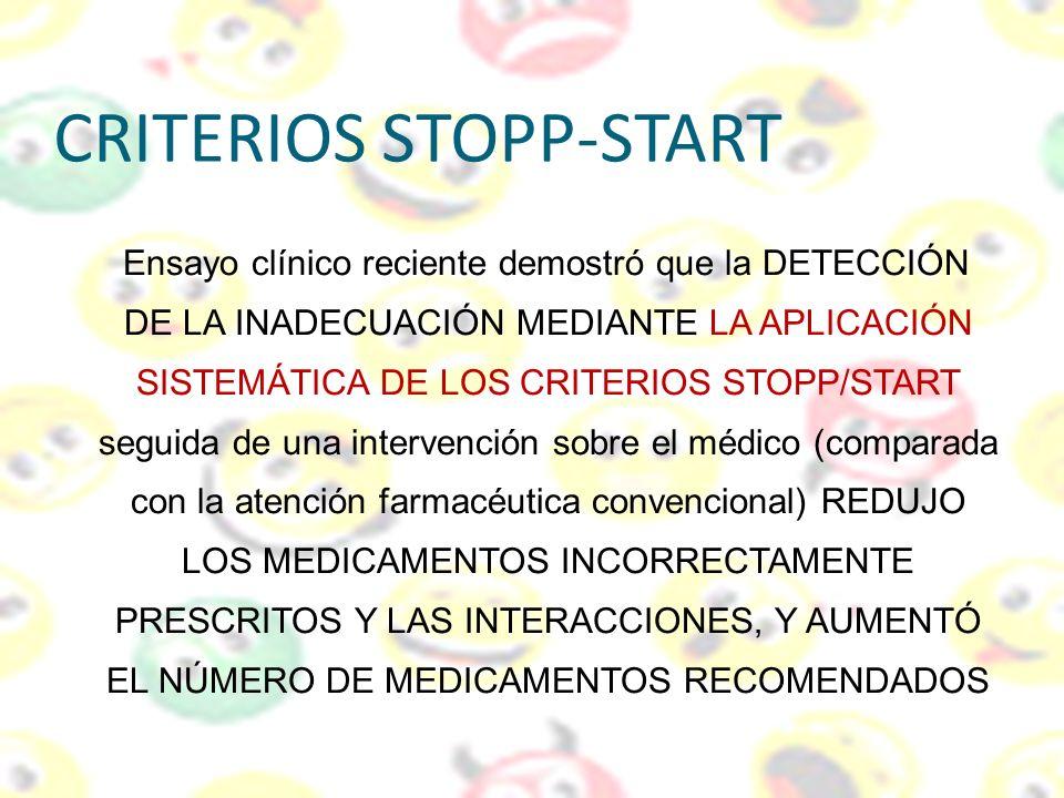 CRITERIOS STOPP-START Ensayo clínico reciente demostró que la DETECCIÓN DE LA INADECUACIÓN MEDIANTE LA APLICACIÓN SISTEMÁTICA DE LOS CRITERIOS STOPP/S