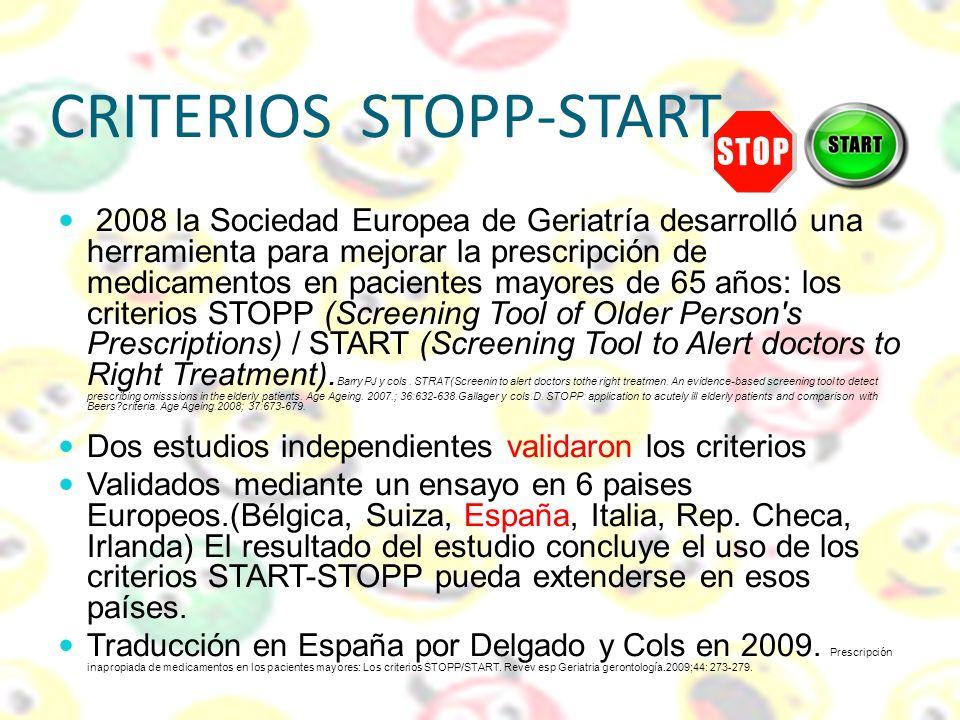 CRITERIOS STOPP-START 2008 la Sociedad Europea de Geriatría desarrolló una herramienta para mejorar la prescripción de medicamentos en pacientes mayor