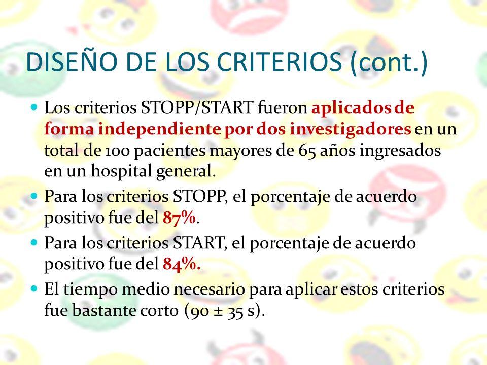 DISEÑO DE LOS CRITERIOS (cont.) Los criterios STOPP/START fueron aplicados de forma independiente por dos investigadores en un total de 100 pacientes