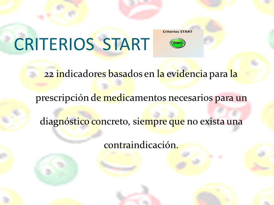 CRITERIOS START 22 indicadores basados en la evidencia para la prescripción de medicamentos necesarios para un diagnóstico concreto, siempre que no ex