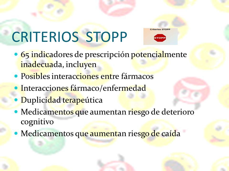 CRITERIOS STOPP 65 indicadores de prescripción potencialmente inadecuada, incluyen Posibles interacciones entre fármacos Interacciones fármaco/enferme