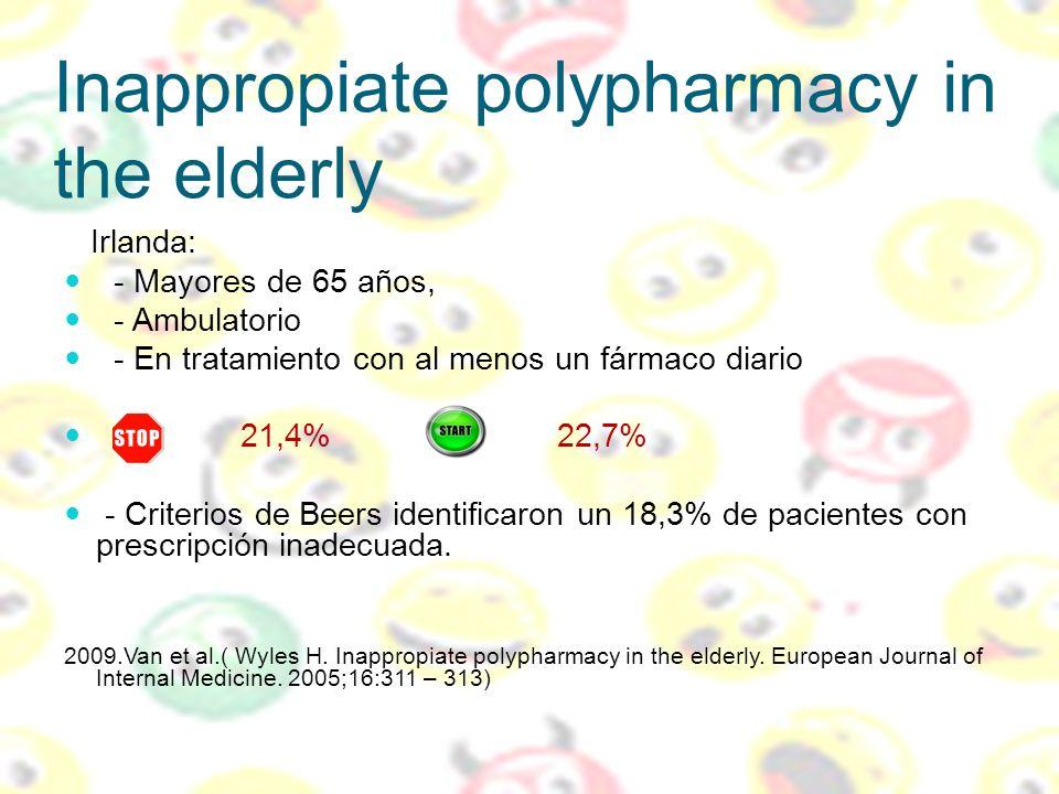 Inappropiate polypharmacy in the elderly Irlanda: - Mayores de 65 años, - Ambulatorio - En tratamiento con al menos un fármaco diario 21,4% 22,7% - Cr