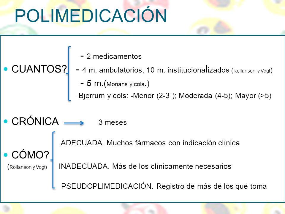 POLIMEDICACIÓN - 2 medicamentos CUANTOS? - 4 m. ambulatorios, 10 m. instituciona l izados ( Rollanson y Vogt ) - 5 m.( Monans y cols.) - Bjerrum y col