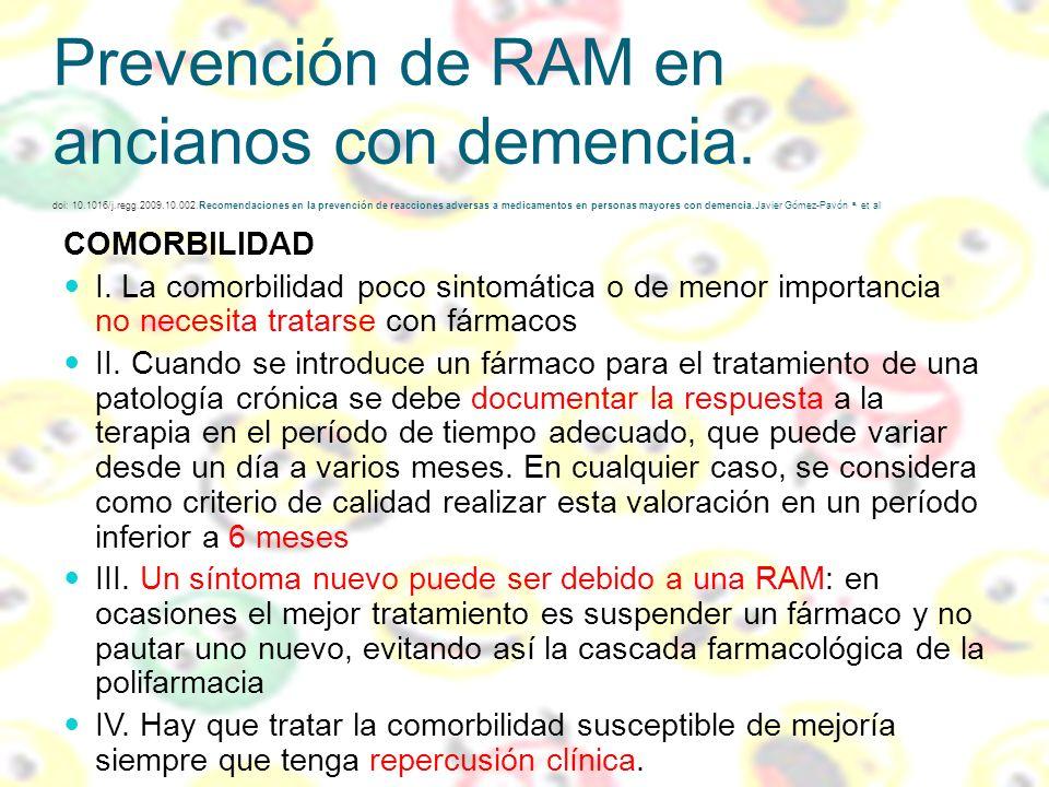 Prevención de RAM en ancianos con demencia. doi: 10.1016/j.regg.2009.10.002.Recomendaciones en la prevención de reacciones adversas a medicamentos en