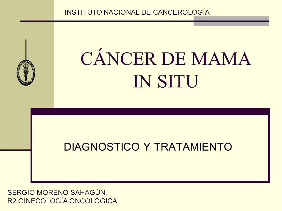 CÁNCER DE MAMA IN SITU DIAGNOSTICO Y TRATAMIENTO SERGIO MORENO SAHAGÚN. R2 GINECOLOGÍA ONCOLÓGICA. INSTITUTO NACIONAL DE CANCEROLOGÍA
