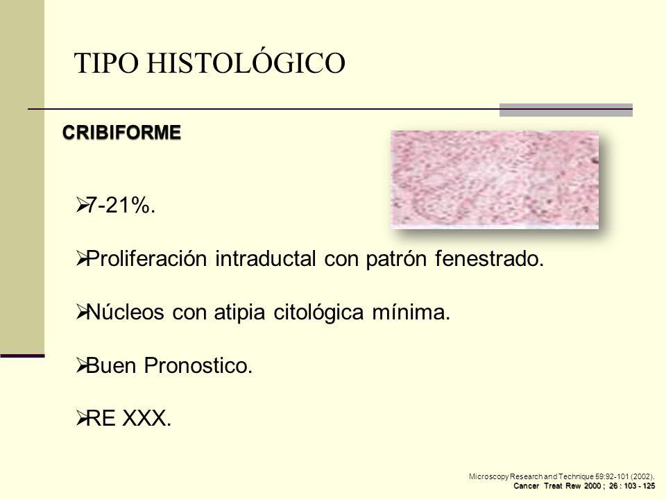 7-21%. Proliferación intraductal con patrón fenestrado. Núcleos con atipia citológica mínima. Buen Pronostico. RE XXX. TIPO HISTOLÓGICO Microscopy Res