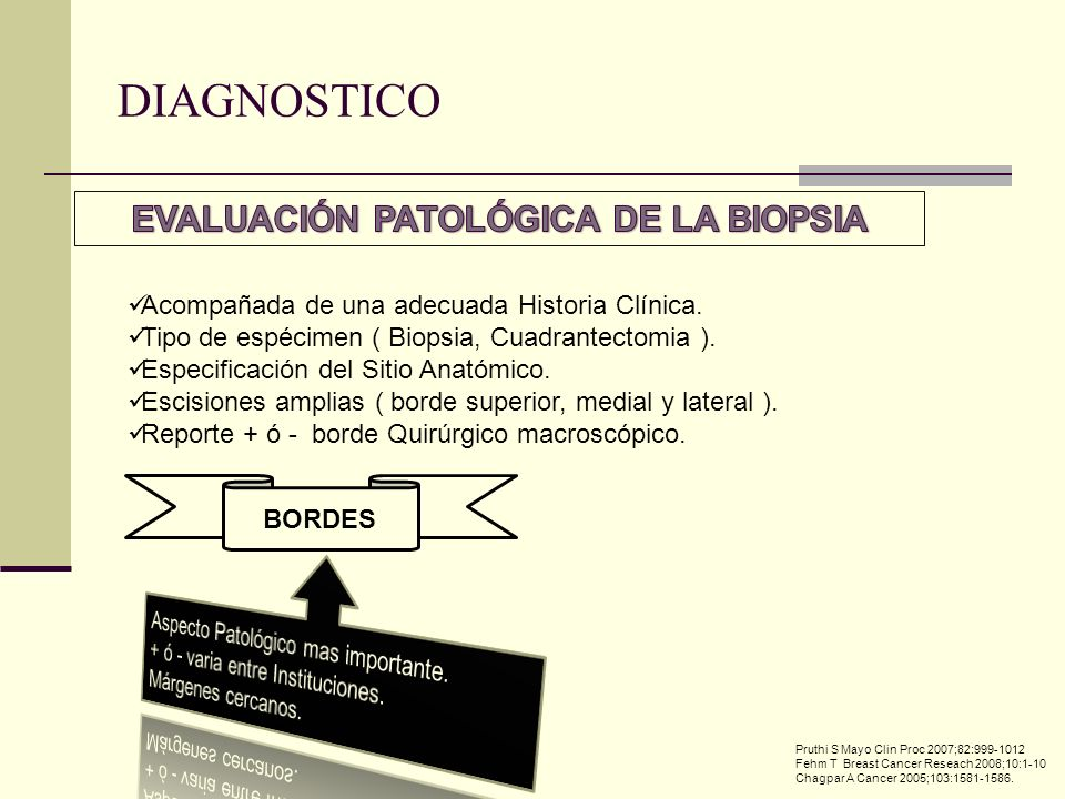Acompañada de una adecuada Historia Clínica. Tipo de espécimen ( Biopsia, Cuadrantectomia ). Especificación del Sitio Anatómico. Escisiones amplias (