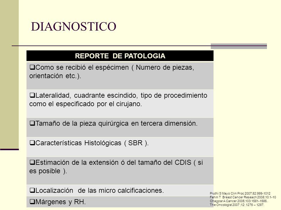 REPORTE DE PATOLOGIA Como se recibió el espécimen ( Numero de piezas, orientación etc.). Lateralidad, cuadrante escindido, tipo de procedimiento como
