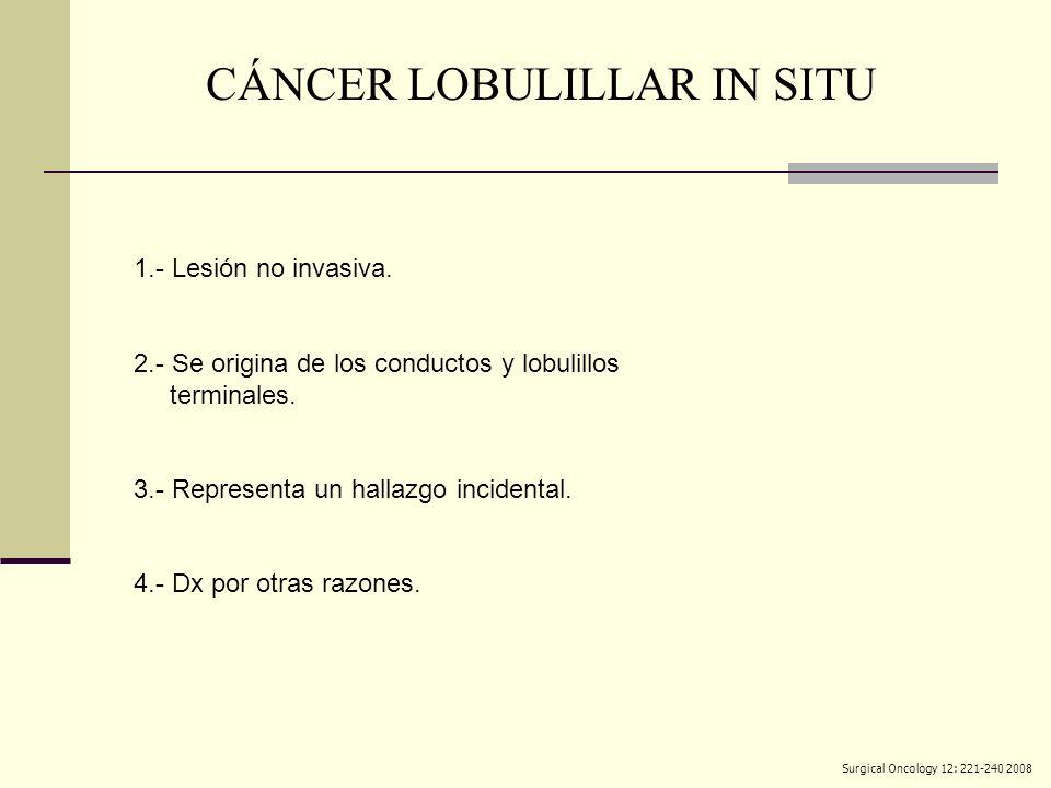 1.- Lesión no invasiva. 2.- Se origina de los conductos y lobulillos terminales. 3.- Representa un hallazgo incidental. 4.- Dx por otras razones. CÁNC