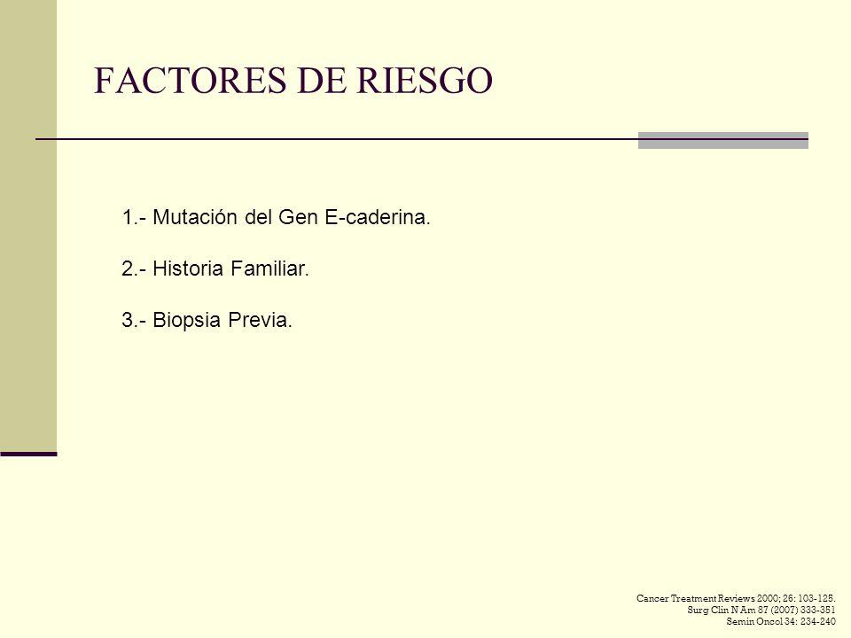 FACTORES DE RIESGO 1.- Mutación del Gen E-caderina. 2.- Historia Familiar. 3.- Biopsia Previa. Cancer Treatment Reviews 2000; 26: 103-125. Surg Clin N