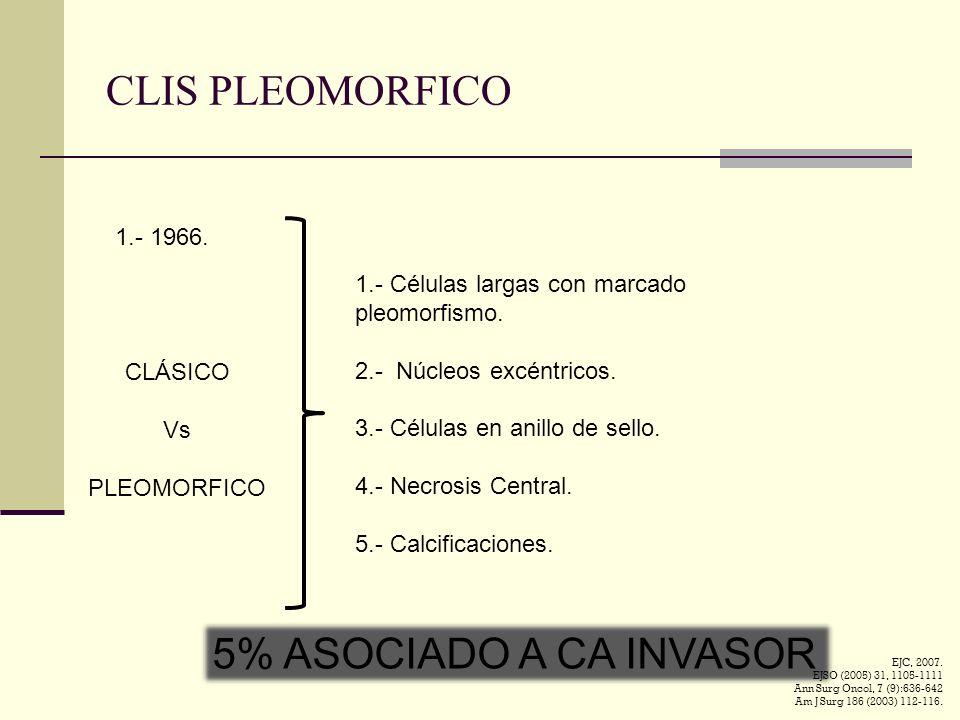 CLIS PLEOMORFICO 1.- 1966. CLÁSICO Vs PLEOMORFICO 1.- Células largas con marcado pleomorfismo. 2.- Núcleos excéntricos. 3.- Células en anillo de sello