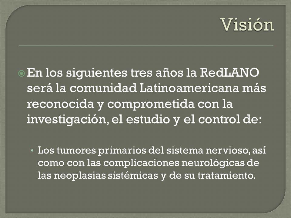 En los siguientes tres años la RedLANO será la comunidad Latinoamericana más reconocida y comprometida con la investigación, el estudio y el control d