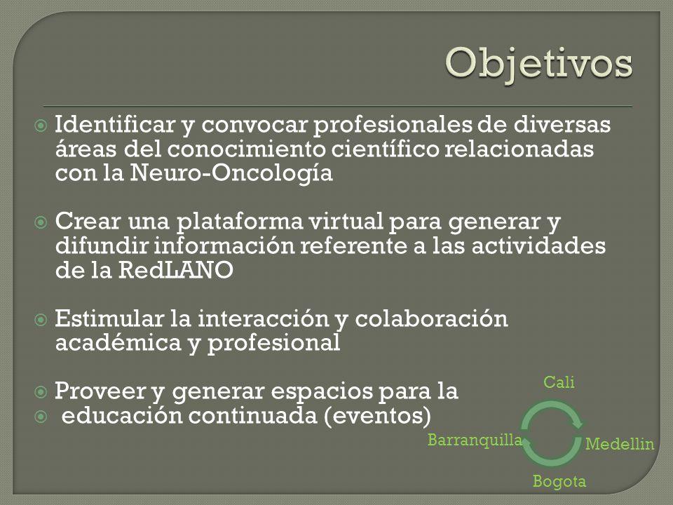 Identificar y convocar profesionales de diversas áreas del conocimiento científico relacionadas con la Neuro-Oncología Crear una plataforma virtual pa
