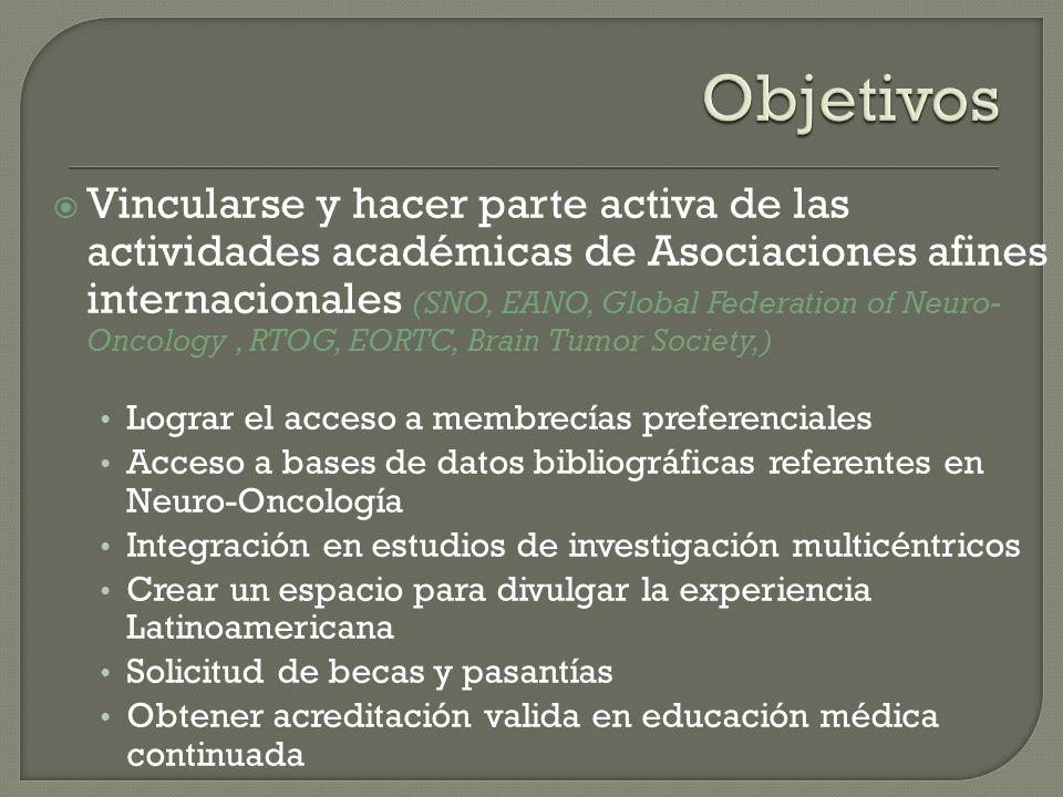 Vincularse y hacer parte activa de las actividades académicas de Asociaciones afines internacionales (SNO, EANO, Global Federation of Neuro- Oncology,