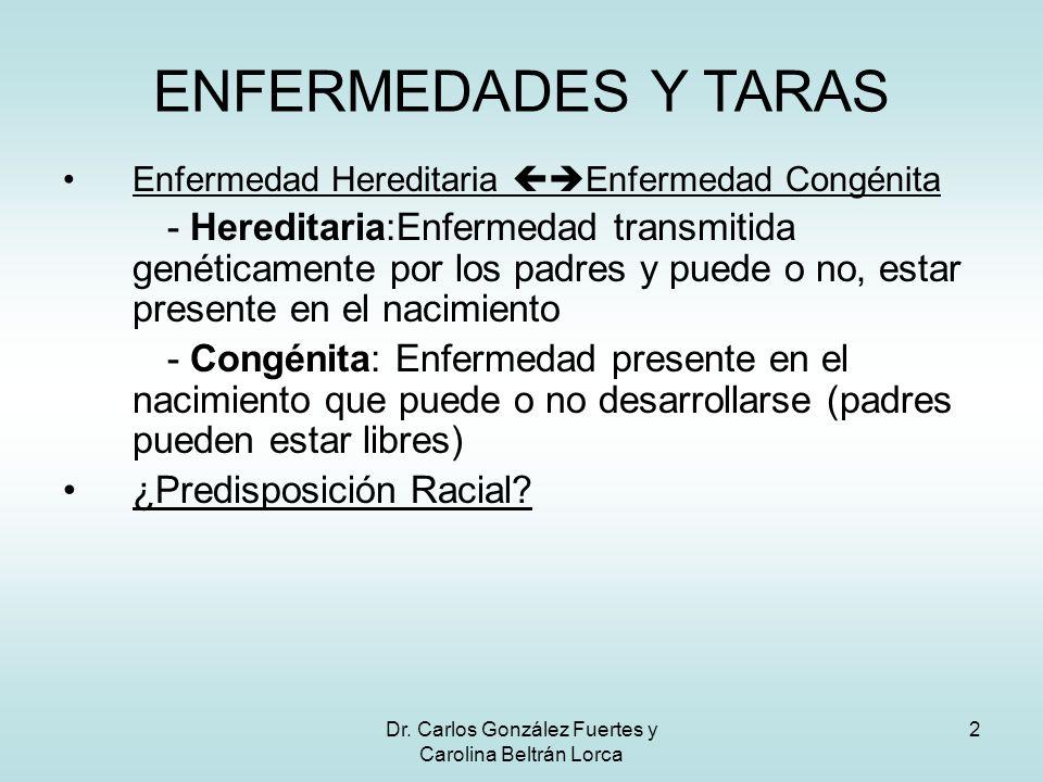 Dr. Carlos González Fuertes y Carolina Beltrán Lorca 2 Enfermedad Hereditaria Enfermedad Congénita - Hereditaria:Enfermedad transmitida genéticamente