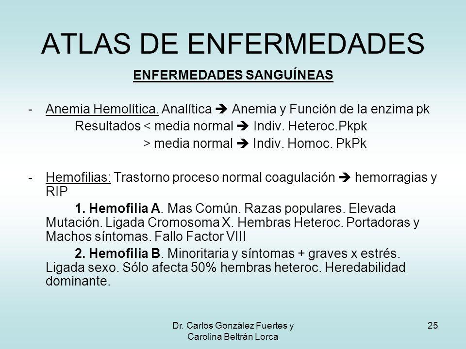 Dr. Carlos González Fuertes y Carolina Beltrán Lorca 25 ENFERMEDADES SANGUÍNEAS -Anemia Hemolítica. Analítica Anemia y Función de la enzima pk Resulta