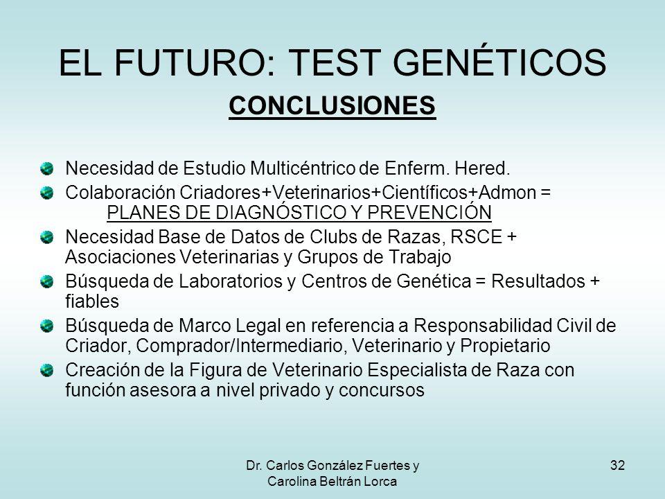 Dr. Carlos González Fuertes y Carolina Beltrán Lorca 32 CONCLUSIONES Necesidad de Estudio Multicéntrico de Enferm. Hered. Colaboración Criadores+Veter