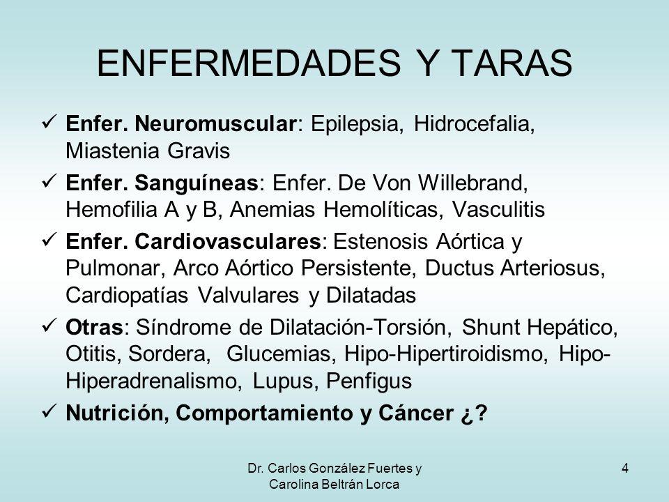 Dr. Carlos González Fuertes y Carolina Beltrán Lorca 4 Enfer. Neuromuscular: Epilepsia, Hidrocefalia, Miastenia Gravis Enfer. Sanguíneas: Enfer. De Vo