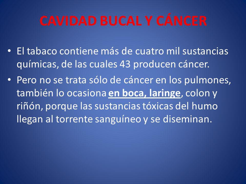 CAVIDAD BUCAL Y CÁNCER El tabaco contiene más de cuatro mil sustancias químicas, de las cuales 43 producen cáncer. Pero no se trata sólo de cáncer en