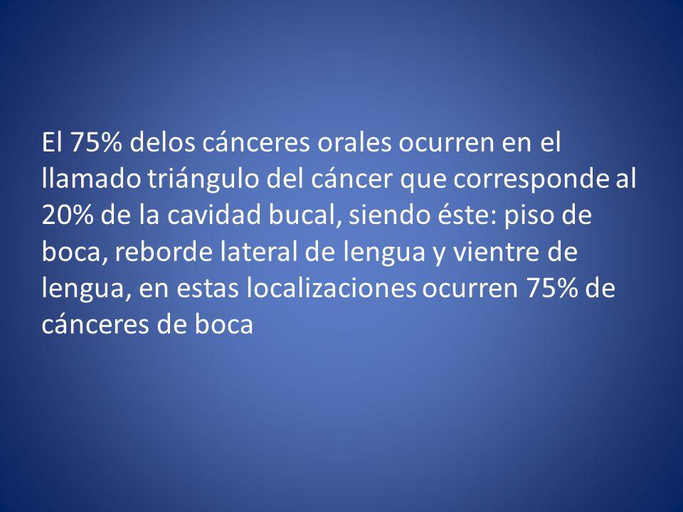 El 75% delos cánceres orales ocurren en el llamado triángulo del cáncer que corresponde al 20% de la cavidad bucal, siendo éste: piso de boca, reborde
