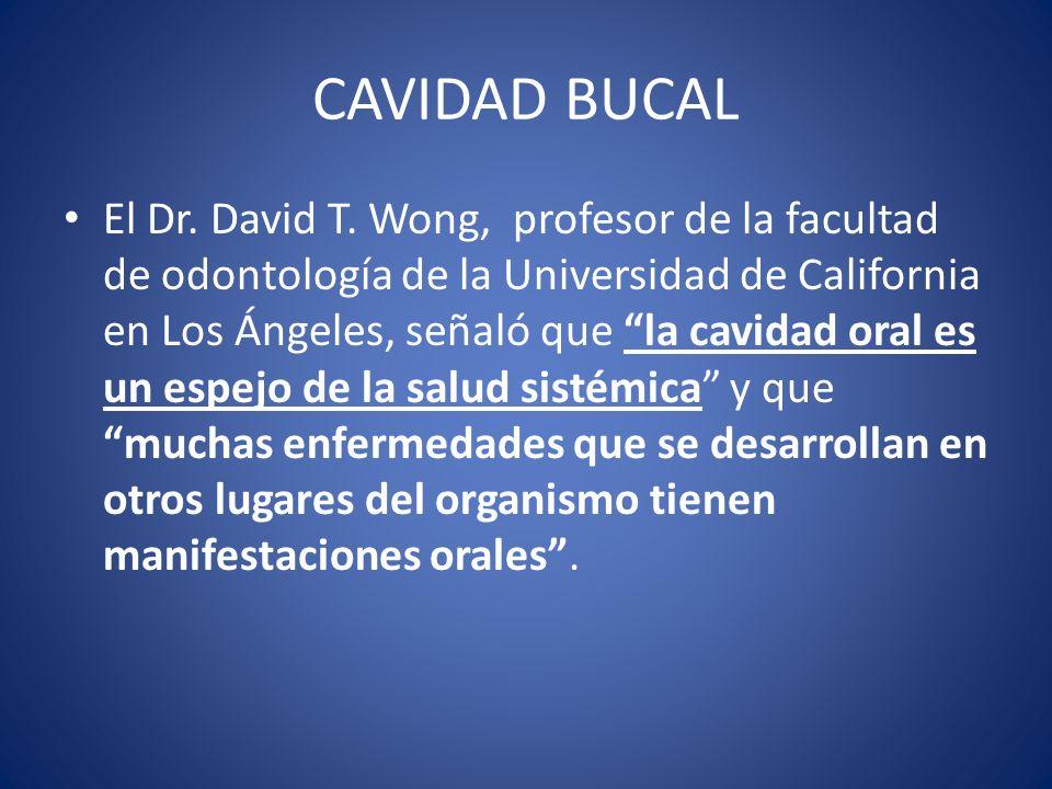 CAVIDAD BUCAL El Dr. David T. Wong, profesor de la facultad de odontología de la Universidad de California en Los Ángeles, señaló que la cavidad oral