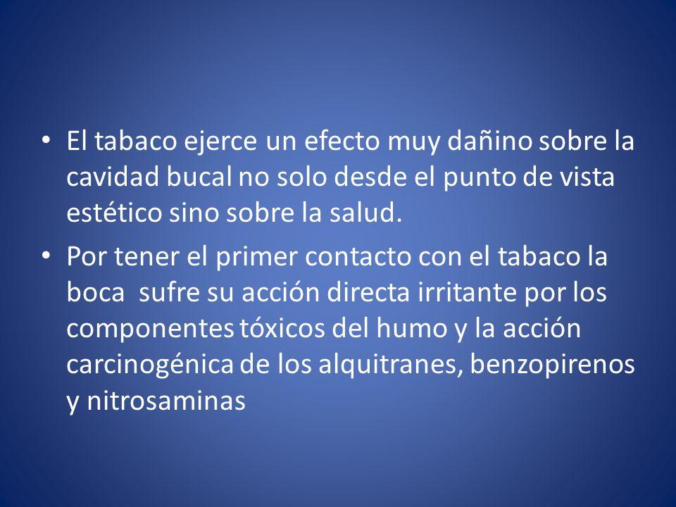 DAÑOS DEL TABACO A LA CAVIDAD BUCAL Halitosis Caries Xerostomía Ageusia Disminución del olfato Manchas en los dientes Enfermedad periodontal Estomatitis nicotínica Leucoplasias Labio leporino Cáncer MUERTE