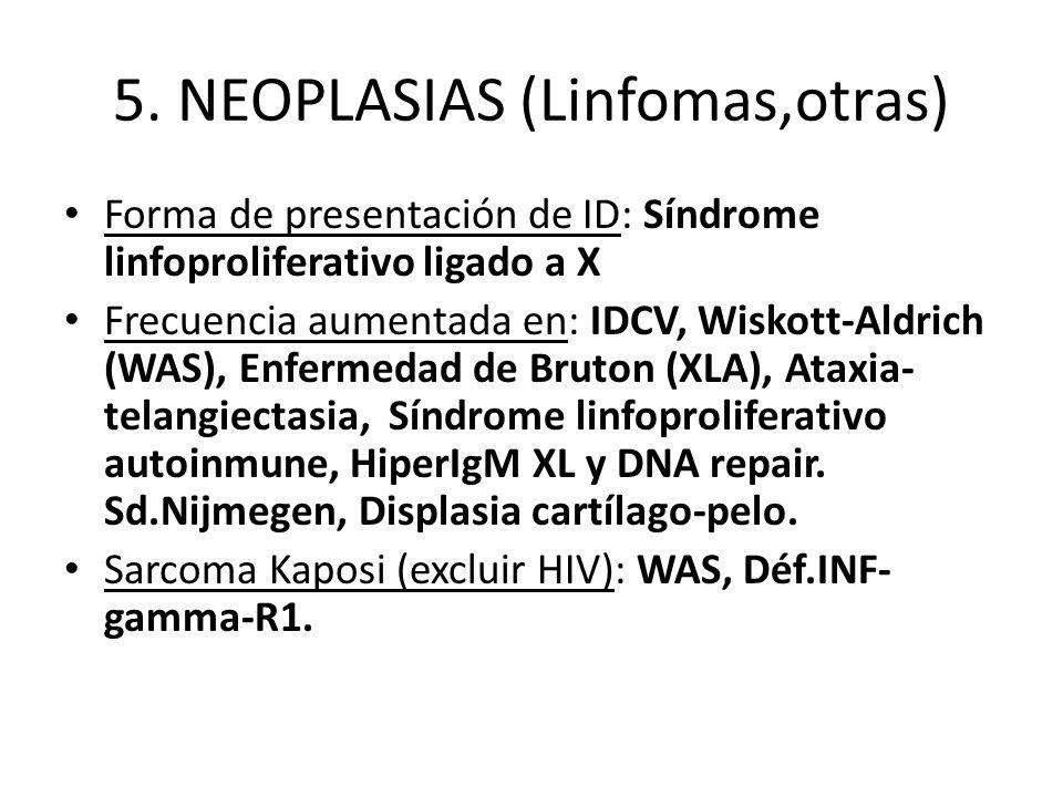 5. NEOPLASIAS (Linfomas,otras) Forma de presentación de ID: Síndrome linfoproliferativo ligado a X Frecuencia aumentada en: IDCV, Wiskott-Aldrich (WAS