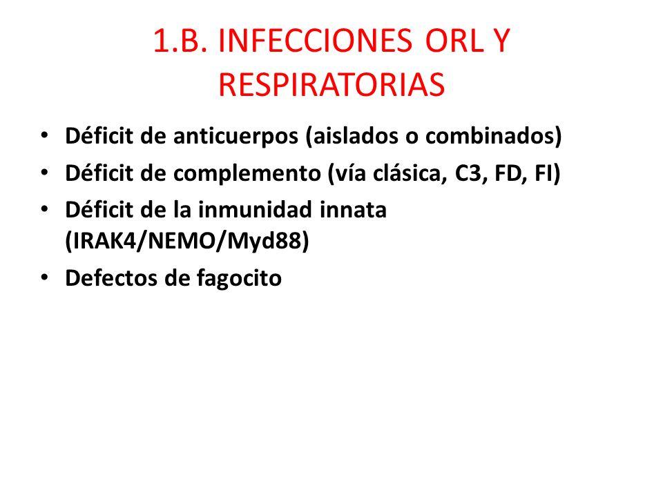 1.B. INFECCIONES ORL Y RESPIRATORIAS Déficit de anticuerpos (aislados o combinados) Déficit de complemento (vía clásica, C3, FD, FI) Déficit de la inm