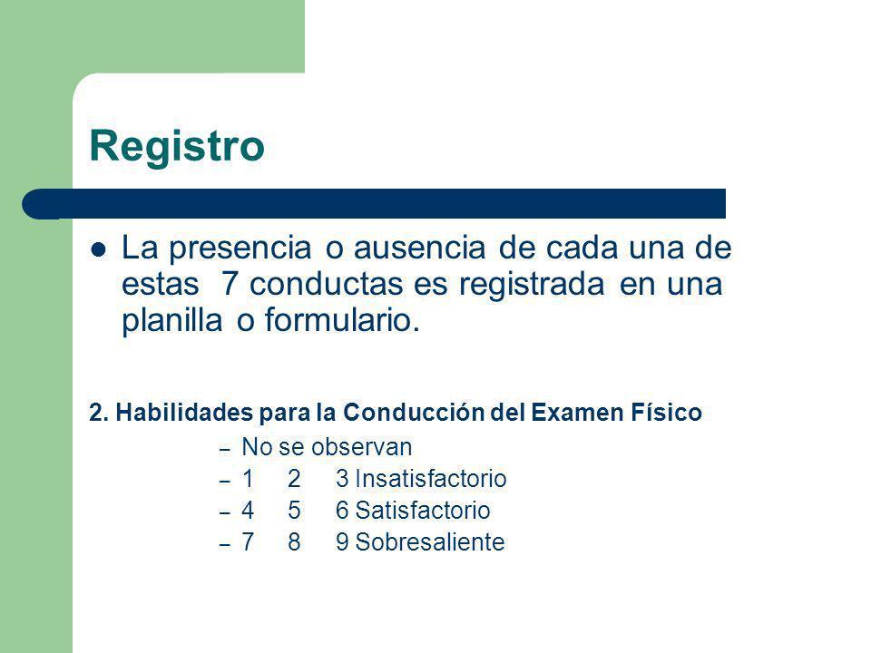 Registro La presencia o ausencia de cada una de estas 7 conductas es registrada en una planilla o formulario. 2. Habilidades para la Conducción del Ex