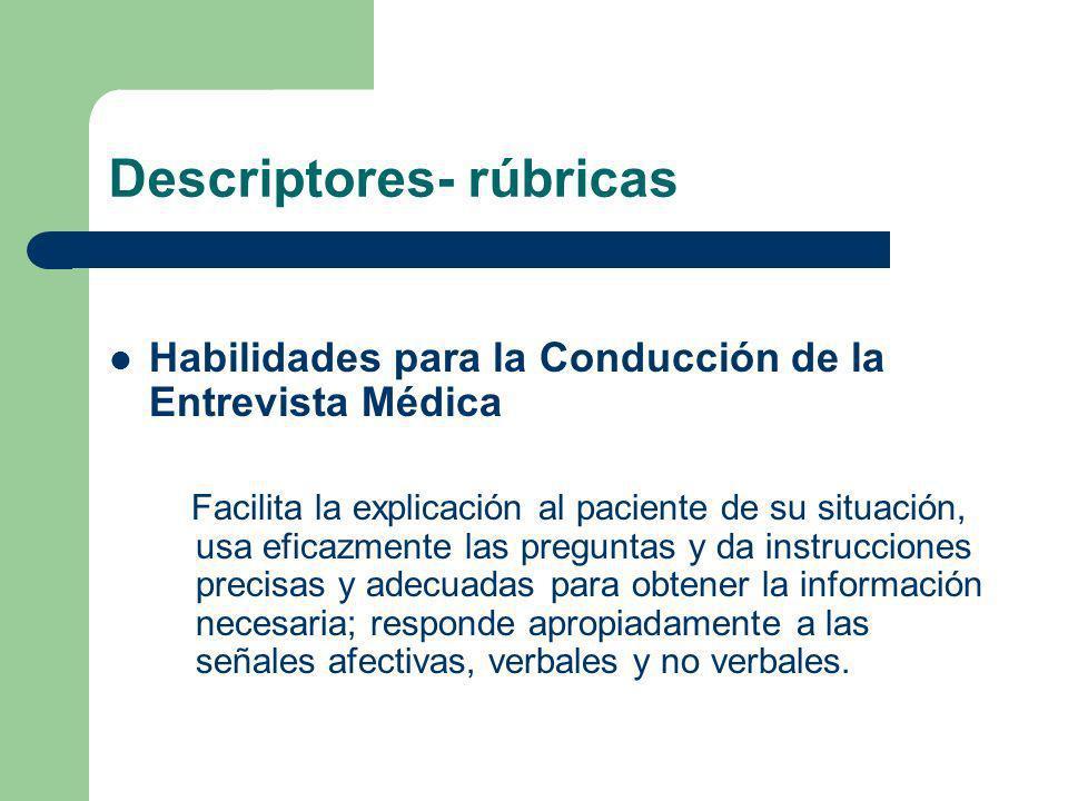 Descriptores- rúbricas Habilidades para la Conducción de la Entrevista Médica Facilita la explicación al paciente de su situación, usa eficazmente las