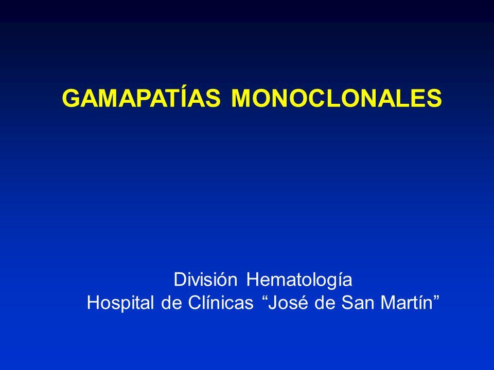 AMILOIDOSIS PRIMARIA Estudios complementarios AMILOIDOSIS PRIMARIA Estudios complementarios Componente monoclonal en suero Proteinograma50% Inmunofijación90% IgG33% Cadenas Livianas 25% (80%λ) IgA10% Cadenas livianas libres Proteinuria en rango nefrótico 30% Cadenas livianas en orina 75% Fosfatasa alcalina 25% Déficit de factor x 10% Trombocitosis 5-10% Componente monoclonal en suero Proteinograma50% Inmunofijación90% IgG33% Cadenas Livianas 25% (80%λ) IgA10% Cadenas livianas libres Proteinuria en rango nefrótico 30% Cadenas livianas en orina 75% Fosfatasa alcalina 25% Déficit de factor x 10% Trombocitosis 5-10%