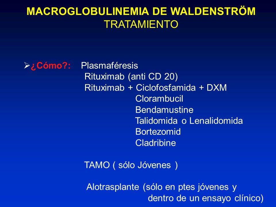 MACROGLOBULINEMIA DE WALDENSTRÖM TRATAMIENTO ¿Cómo?: Plasmaféresis Rituximab (anti CD 20) Rituximab + Ciclofosfamida + DXM Clorambucil Bendamustine Ta
