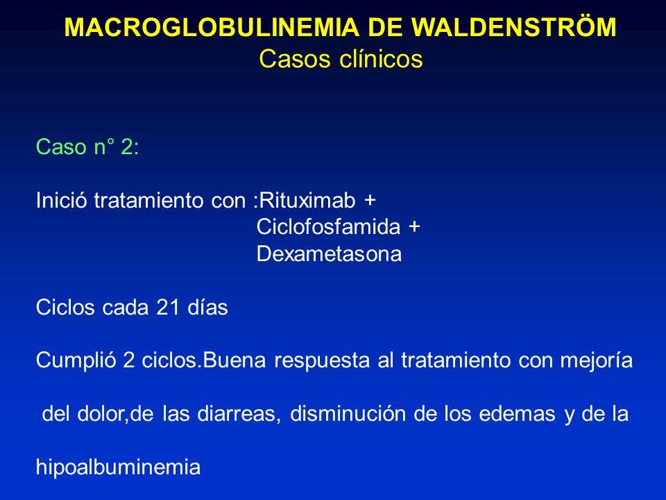 MACROGLOBULINEMIA DE WALDENSTRÖM Casos clínicos Caso n° 2: Inició tratamiento con :Rituximab + Ciclofosfamida + Dexametasona Ciclos cada 21 días Cumpl
