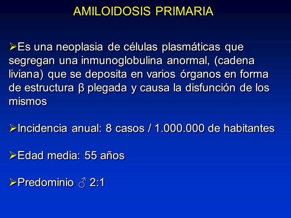 AMILOIDOSIS PRIMARIA Es una neoplasia de células plasmáticas que segregan una inmunoglobulina anormal, (cadena liviana) que se deposita en varios órga