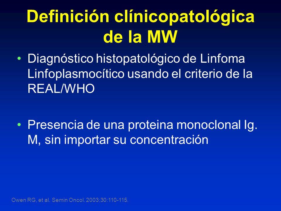 Definición clínicopatológica de la MW Diagnóstico histopatológico de Linfoma Linfoplasmocítico usando el criterio de la REAL/WHO Presencia de una prot