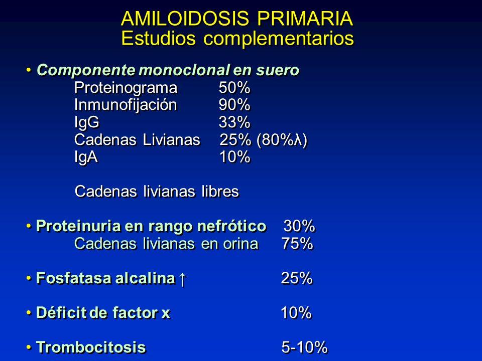 AMILOIDOSIS PRIMARIA Estudios complementarios AMILOIDOSIS PRIMARIA Estudios complementarios Componente monoclonal en suero Proteinograma50% Inmunofija
