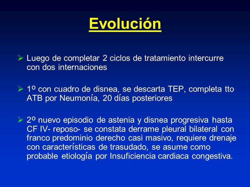 Evolución Luego de completar 2 ciclos de tratamiento intercurre con dos internaciones 1 º con cuadro de disnea, se descarta TEP, completa tto ATB por