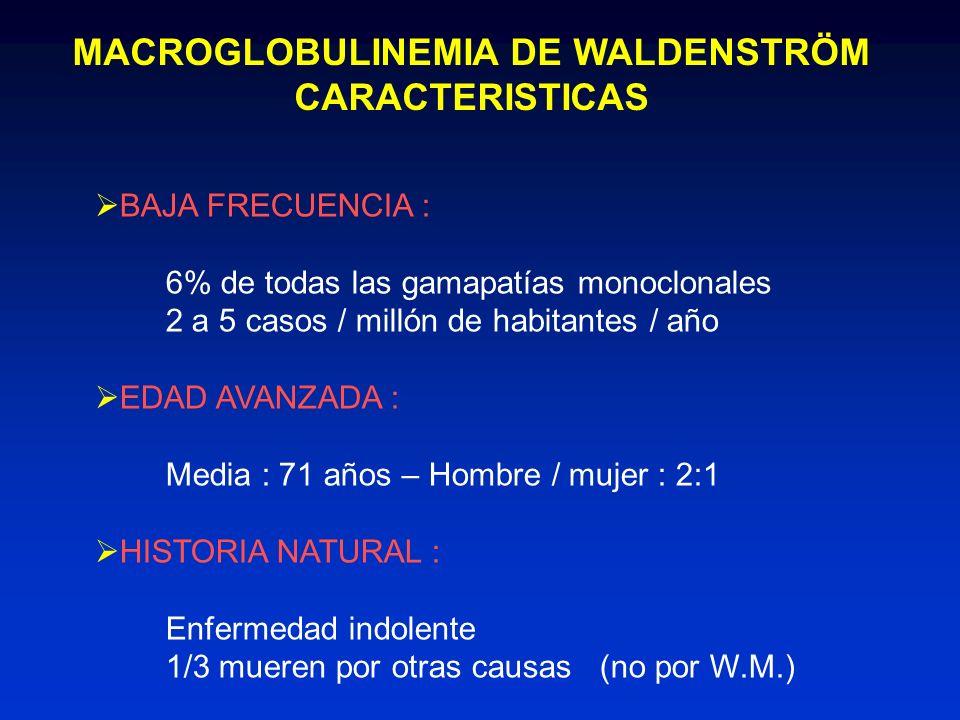 MACROGLOBULINEMIA DE WALDENSTRÖM CARACTERISTICAS BAJA FRECUENCIA : 6% de todas las gamapatías monoclonales 2 a 5 casos / millón de habitantes / año ED
