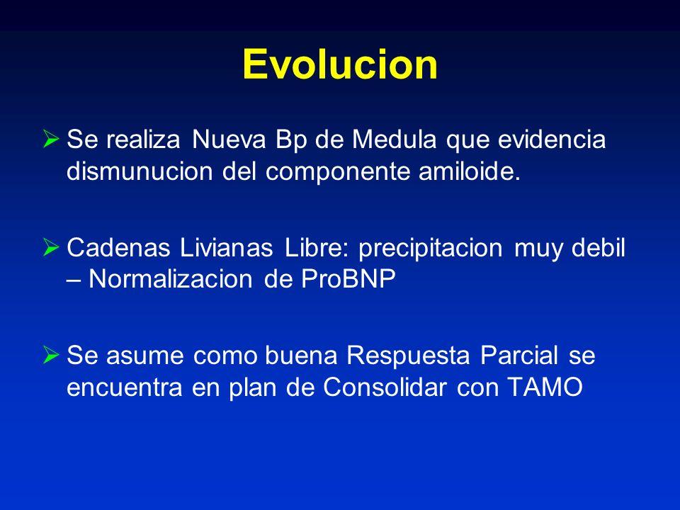 Evolucion Se realiza Nueva Bp de Medula que evidencia dismunucion del componente amiloide. Cadenas Livianas Libre: precipitacion muy debil – Normaliza