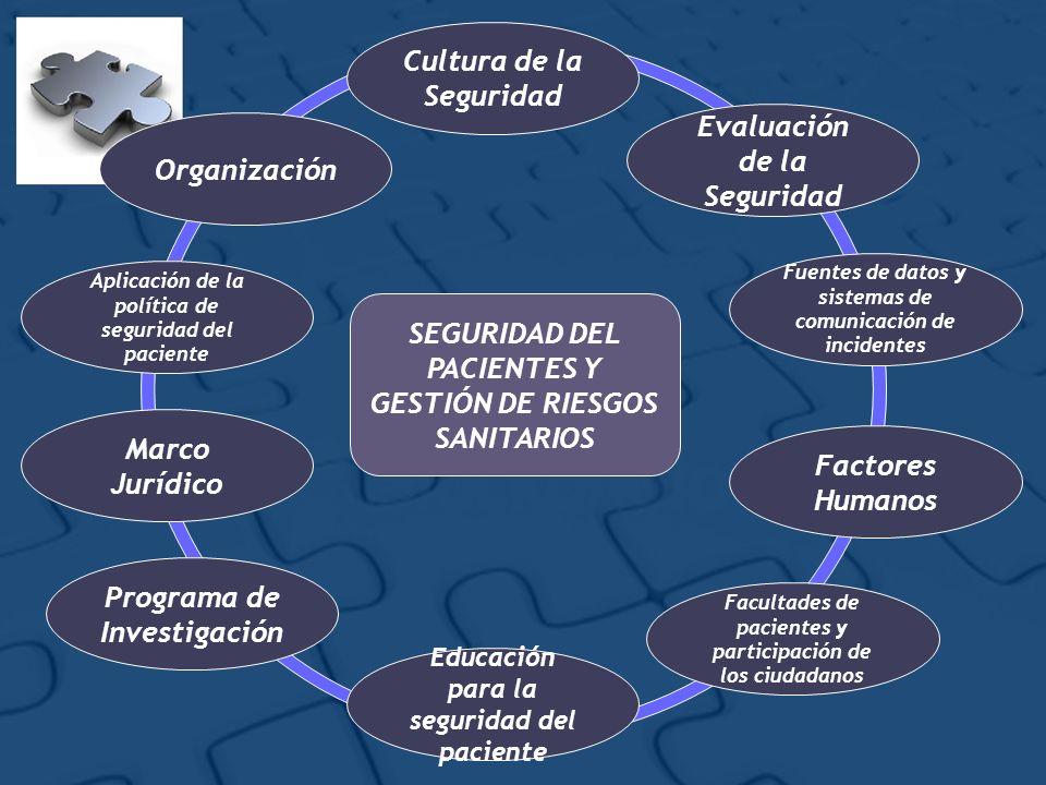 SEGURIDAD DEL PACIENTES Y GESTIÓN DE RIESGOS SANITARIOS Cultura de la Seguridad Educación para la seguridad del paciente Programa de Investigación Mar